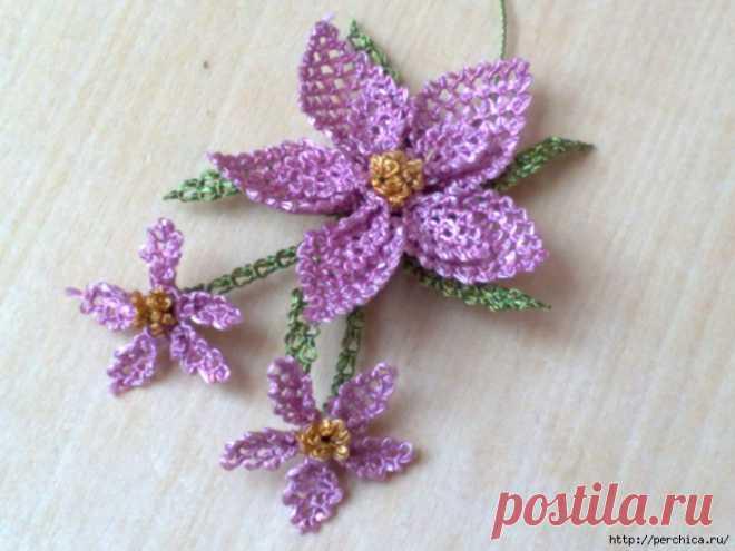 El encaje de aguja turco la parte 6 - la Flor
