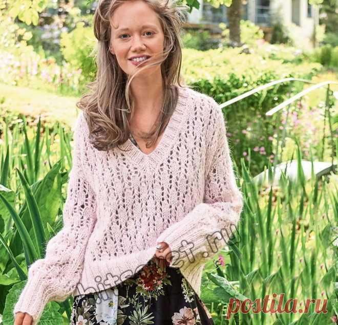 Ажурный пуловер с V-образным вырезом - Хитсовет Вязание спицами для женщин ажурного пуловера с V-образным вырезом со схемой и пошаговым бесплатным описание.