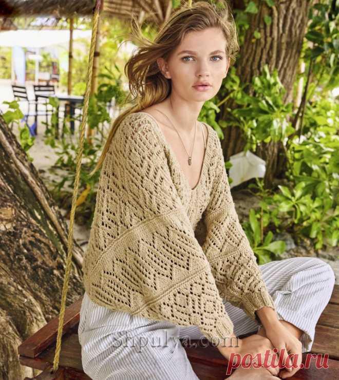 Ажурный пуловер с широкими рукавами и V-образным вырезом — Shpulya.com - схемы с описанием для вязания спицами и крючком