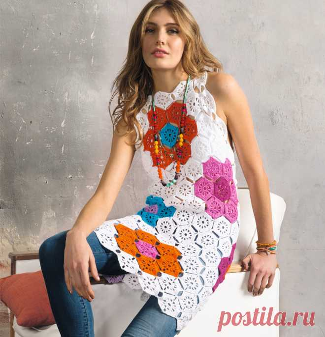 Мини-платье с цветами - схема вязания крючком. Вяжем Платья на Verena.ru