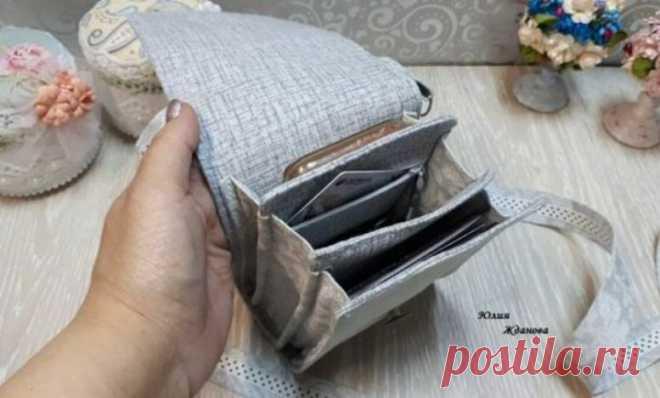 Как сшить льняную сумку под документы и телефон | Журнал Ярмарки Мастеров