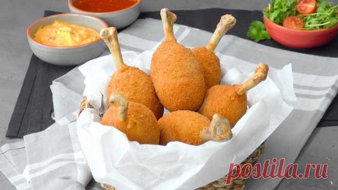 Besonders kross: mit Mozzarella gefüllte Hähnchenkeule Der Schein trügt
