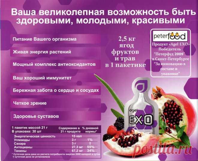 Agel EXO - это живой продукт, содержащий комплекс -фруктов, ягод и растительных экстрактов. EXO содержит большое количество полезных компонентов, которые заключены в гелевую матрицу, что обеспечивает максимальную биодоступность питательных веществ ( 98-99 %). Продукт EXO изобилует мощными антиоксидантами ( более 200). Именномногообразие природных антиоксидантов в геле EXO  обеспечивает надёжную защиту Вашего организма. На каждый вид свободных радикалов есть определённые виды антиоксидантов.