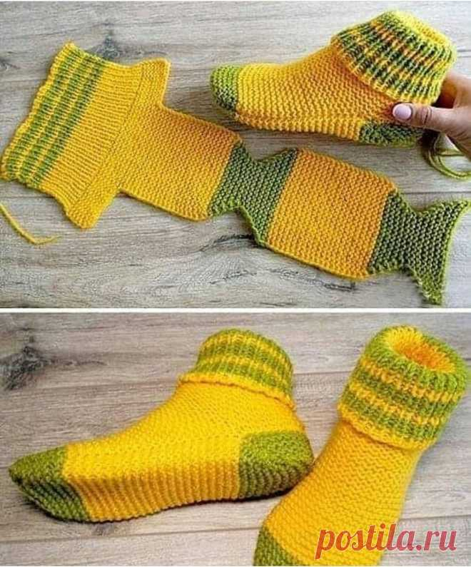 Идеи теплых носочков, которые сделаны по одному принципу.  Тут все размеры надо высчитывать под свой размер ноги и делать небольшой запас на толщину пряжи