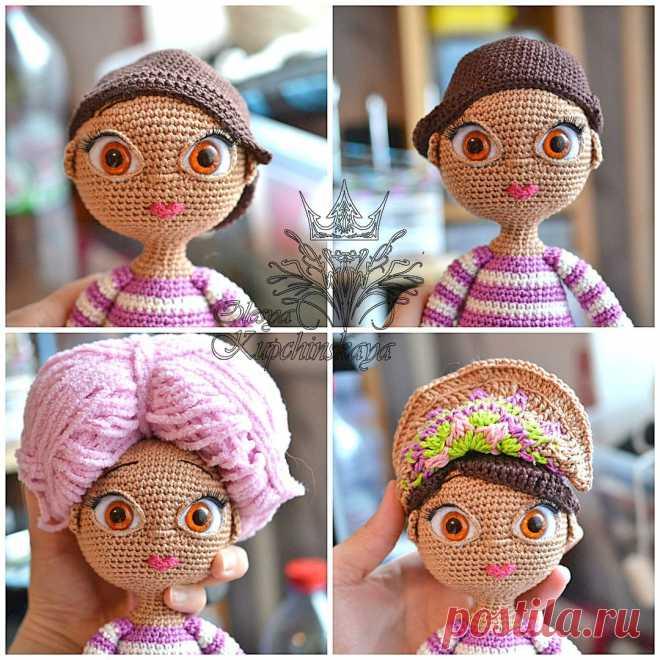 мини мастер класс по оформления глазок для вязаной куколки