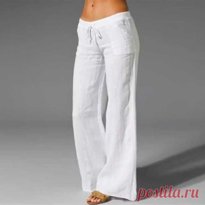 Женские широкие брюки из хлопка размера плюс 3XL, повседневные свободные брюки с высокой талией, Новинка лета 2020 | Брюки