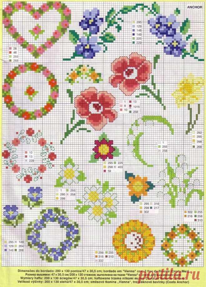 Схема вышивки крестом: 'цветы васильки' скачать бесплатно.