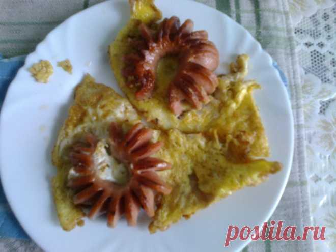 Драники и сосиски в яйце