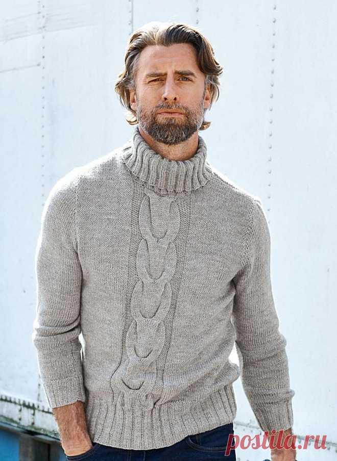 купить мужской свитер - вязаный мужской свитер купить - мужской свитер - Ksena Мужской свитер с высокой горловиной. 100% Ручная работа. Уютный тёплый свитерок, пряжа с добавкой альпаки - это то что нужно в холодную пору, длина примерно 65см., горловина высокая, можно сложить в двое, по центру красивый одиночный узор