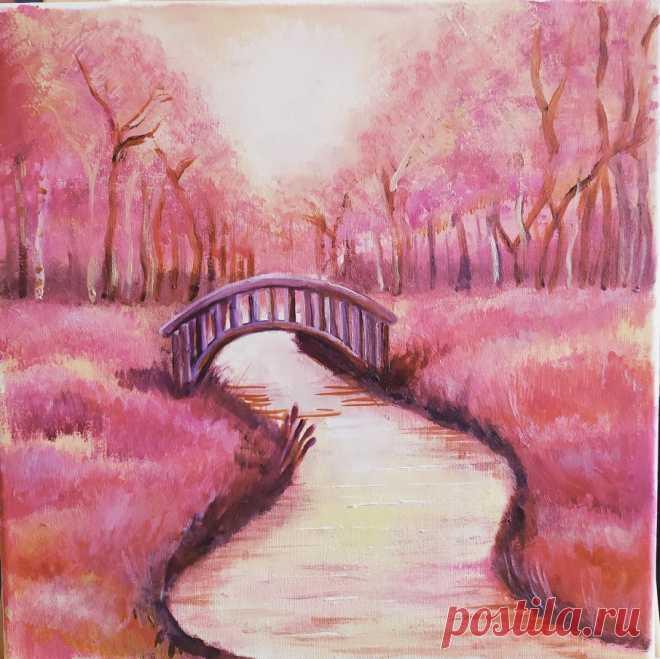Старый мостик в лесу.  Спасибо Арт-Клякса за видео! Хоть картинка и простенькая, но в тему осени.  Мне нравится, как получилось)