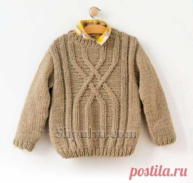Детский пуловер с арановым узором — Shpulya.com - схемы с описанием для вязания спицами и крючком