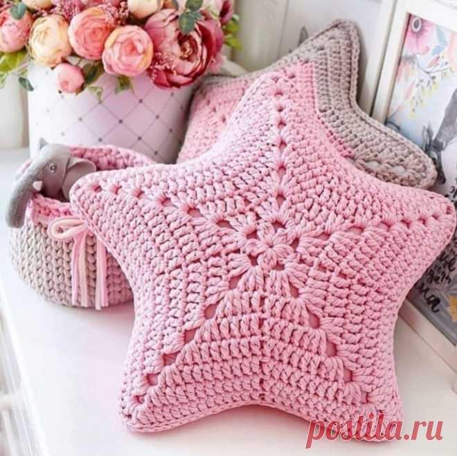 Вяжем звездную подушку