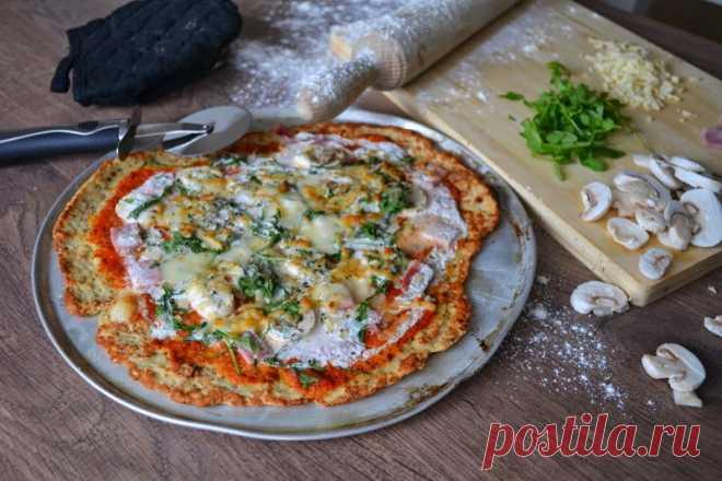Низкокалорийная пицца без теста. Рецепт низкокалорийной пиццы на основе из измельченной куриной грудки с ветчиной, грибами и небольшим количеством сыра.