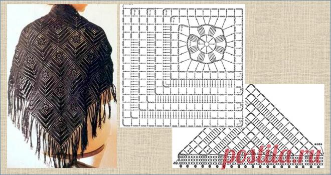 А как по вашему должна выглядеть настоящая осенняя шаль? - 10 моделей со схемами для вязания крючком | МНЕ ИНТЕРЕСНО | Яндекс Дзен