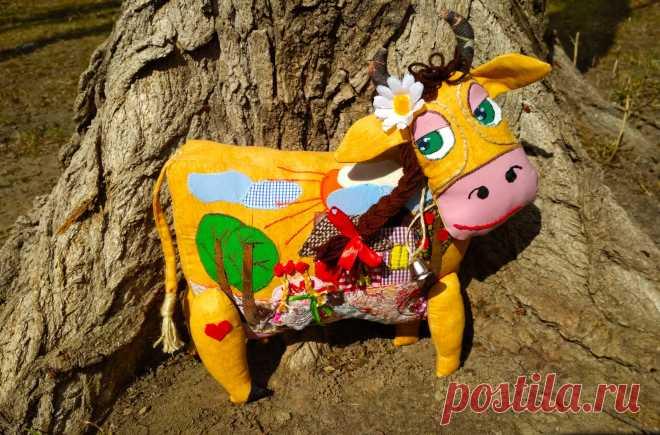 Коровка текстильная ,35*35 см