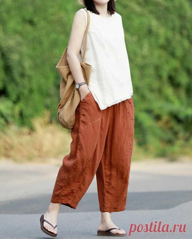 Womens Linen pants linen harem pants Linen turnip pants | Etsy