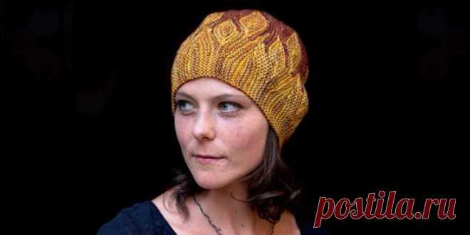 шапка вязаная поперек Azula интересная шапка вязаная спицами