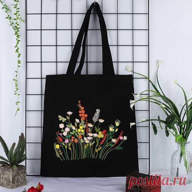 Женская сумка на одно плечо с цветочной вышивкой «сделай сам», Холщовая Сумка, сумка для покупок, набор для рукоделия с вышитым крестом Вышивка    АлиЭкспресс
