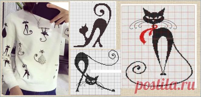 Много-много жаккардовых котиков и в примерах, и в схемах, и в изделиях - разбирайте в копилочки кому что нравится | МНЕ ИНТЕРЕСНО | Яндекс Дзен