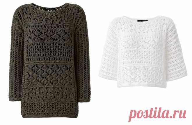 Дизайнерские пуловеры Elektra и Evita от Iris von Armin спицами со схемами.