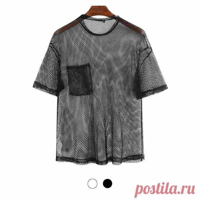 Men's mesh t-shirt see-through fishnet short sleeve party perform streetwear tops hiking cycling fitness Sale - Banggood.com