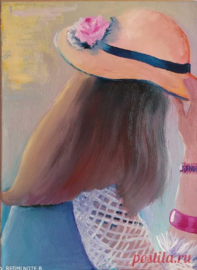 Девушка в шляпке. Написана в 2020 году, интуитивная живопись ( правополушарная живопись). Пока рисовала ее, не могла оторваться.Да, здесь все простенько, но что-то в ней есть)