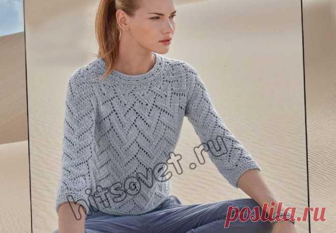 Пуловер одним полотном - Хитсовет Пуловер одним полотном. Модная модель пуловера для девушки связанного красивым узором единым полотном с бесплатным описанием и схемой вязания.