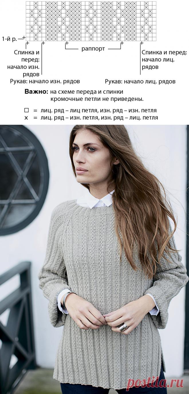 25cdc1d494f Туника реглан со структурным узором - схема вязания спицами. Вяжем Туники на  Verena.ru