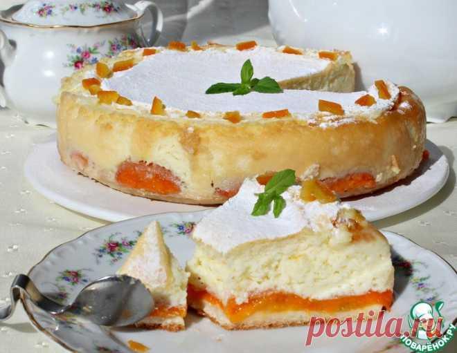 Торт с абрикосами и запеченным нежным кремом – кулинарный рецепт