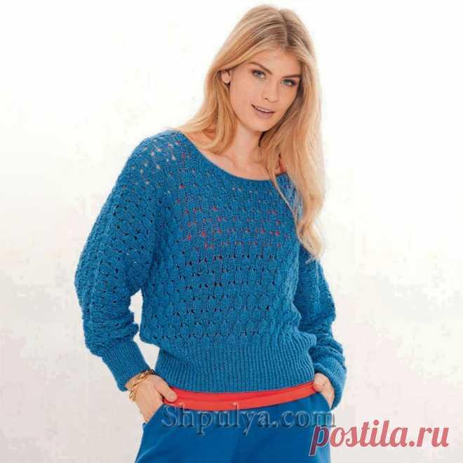 Синий пуловер с рукавами «летучая мышь» и рельефным узором