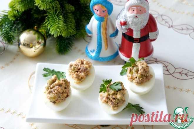 Яйца с печенью трески и горошком Кулинарный рецепт