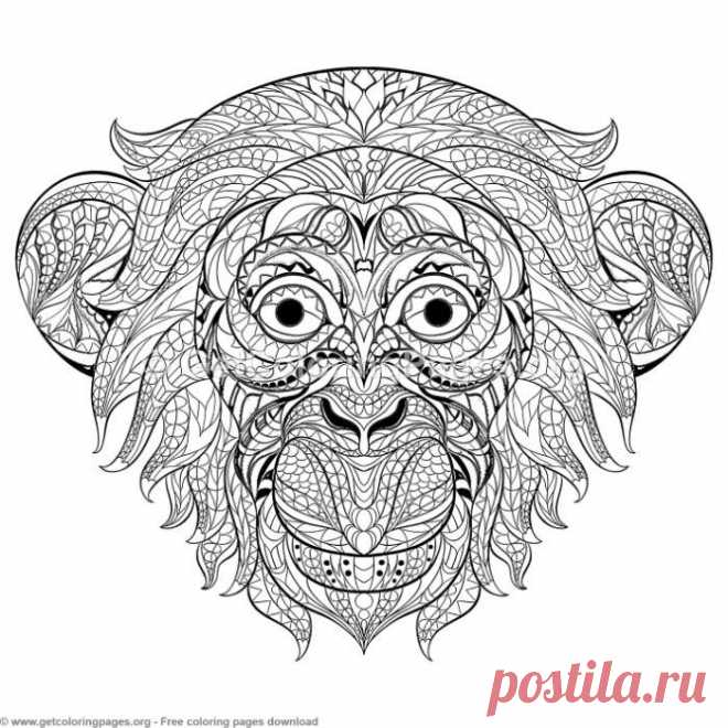 Patterned Zentangle Monkey Coloring Pages – GetColoringPages.org