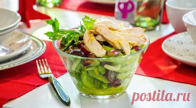 Салат с сельдереем, курицей, орехами и виноградом, пошаговый рецепт с фото