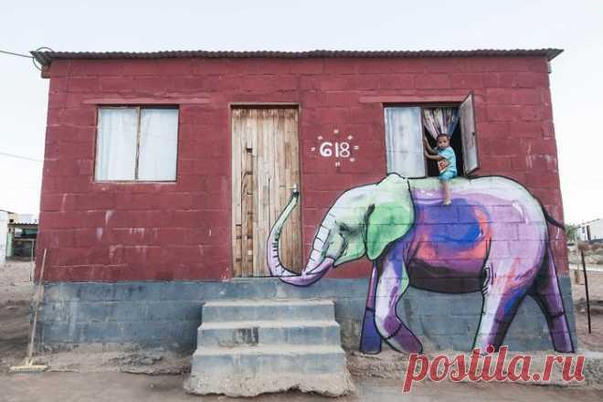 Парень создает шикарное граффити, идеально сочетающееся с окружающей средой. Ридус