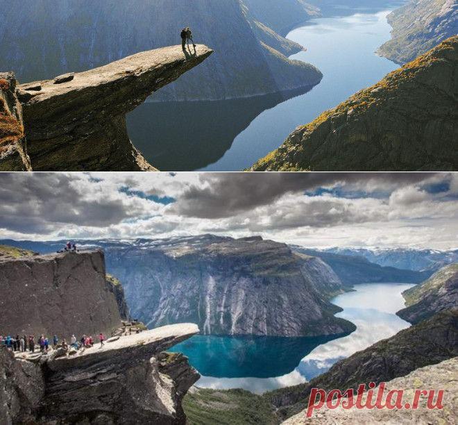 .Язык Тролля, Норвегия.Trolltunga, или Язык Тролля — это необычный каменный выступ на высоте 350 метров на горе Скьеггедаль. Почему язык? И почему тролля? Как гласит старинная норвежская легенда, в тех краях жил тролль, который постоянно испытывал судьбу: нырял в глубокие омуты, прыгал через пропасти.Однажды он решил проверить, правда ли то, что лучи солнца смертельно опасны для троллей. На рассвете он высунул язык из своей пещеры и…окаменел навеки. Скала как магнит притяг...