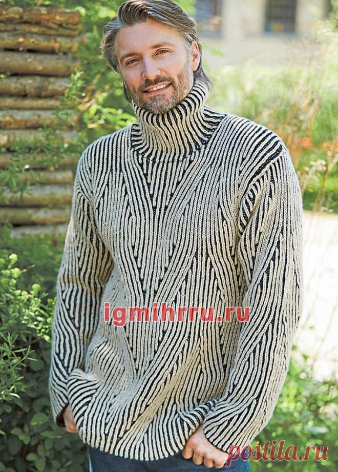 Мужской свитер с двухцветным патентным узором. Вязание спицами