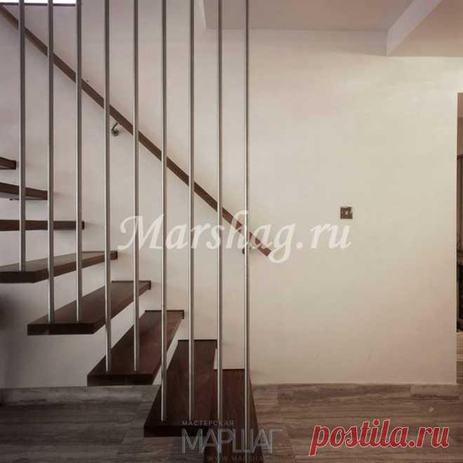 Лестницы, ограждения, перила из стекла, дерева, металла Маршаг – Консольная лестница на вантах