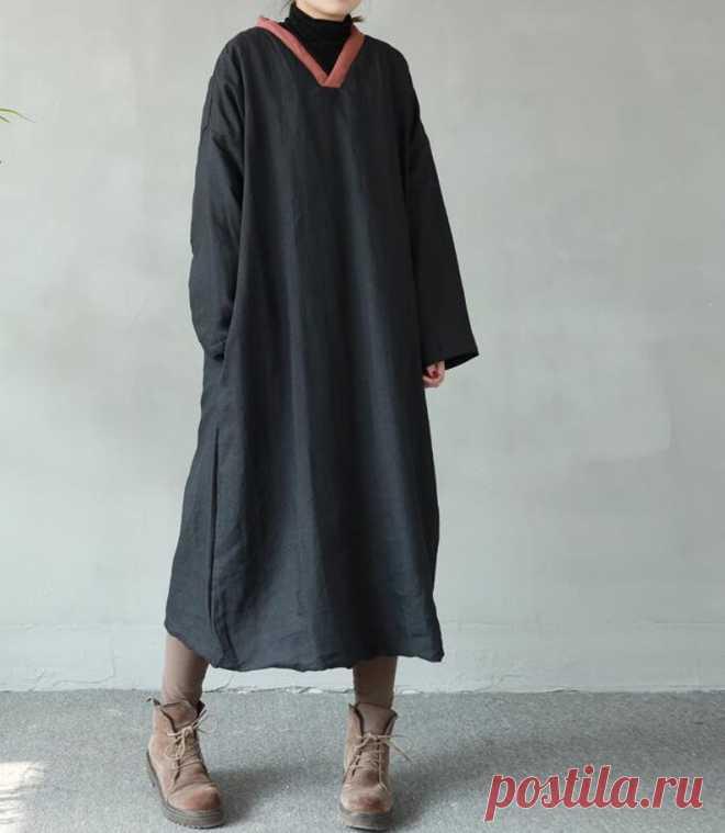 Women Winter long dresses warm dresses linen padded dress | Etsy