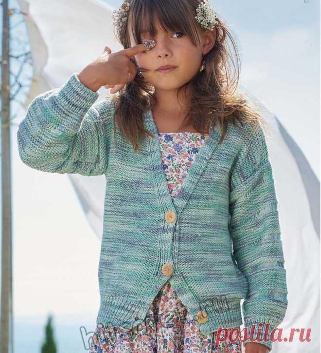 Стильный кардиган для девочки из секционной пряжи - Хитсовет