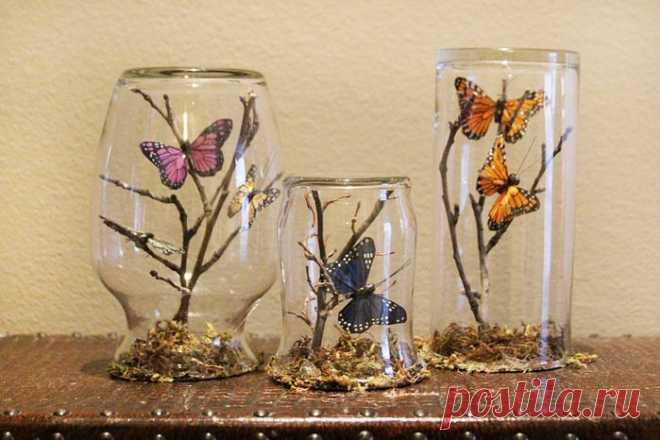 Идея для любителей бабочек. Использование стикеров.