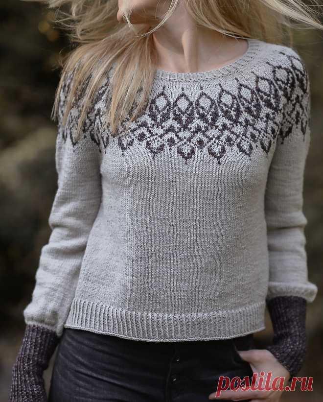 Пуловер с жаккардовой кокеткой Bangle - Вяжи.ру