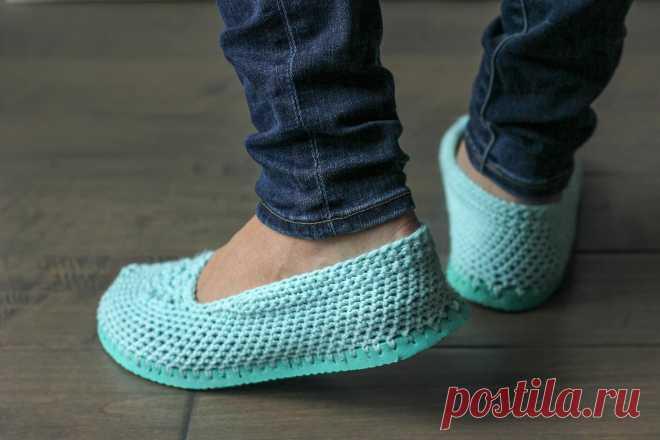 Тапочки из «вьетнамок» - схема вязания крючком. Вяжем Обувь на Verena.ru