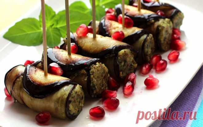 Рулеты из баклажанов с орехами по-грузински