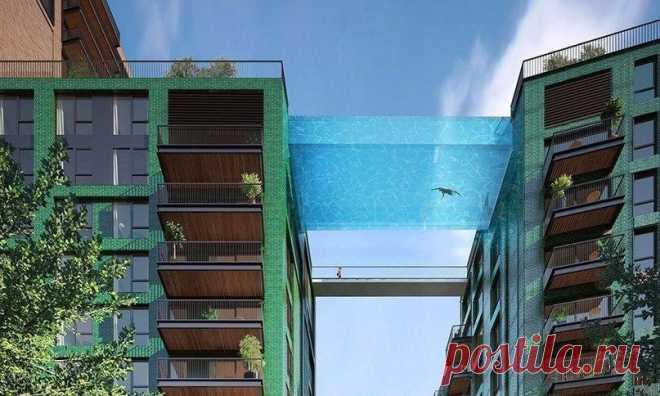 «La piscina celeste»: la piscina transparente entre dos casas a la altura de 35 metros de la tierra