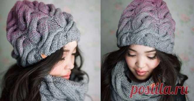 объемная шапка с косами радужное настроение описание и схема тен