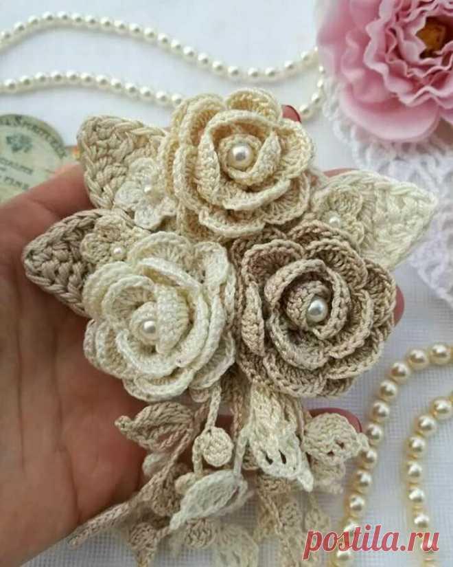 Розовое настроение. Прекрасные цветы вязаные крючком.   NataliyaK   Яндекс Дзен