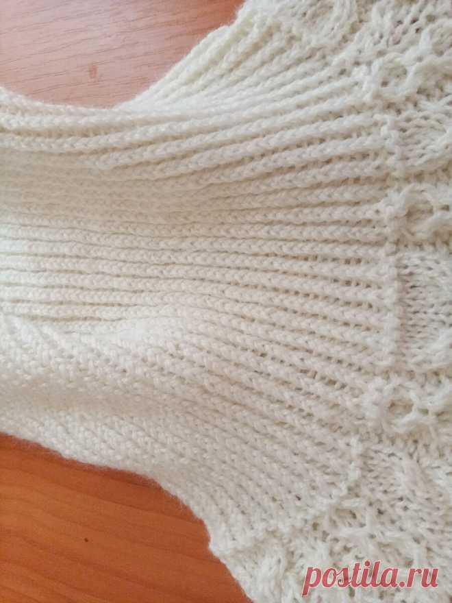 Белый ажурный свитер спицами. | Сундучок Бабушки Наташи | Яндекс Дзен