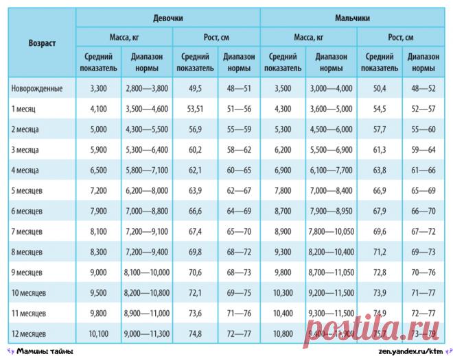 5 важных таблиц для мам: рост, вес, сон, прорезывание зубов, размеры одежды и обуви ребёнка | Мамины тайны | Яндекс Дзен