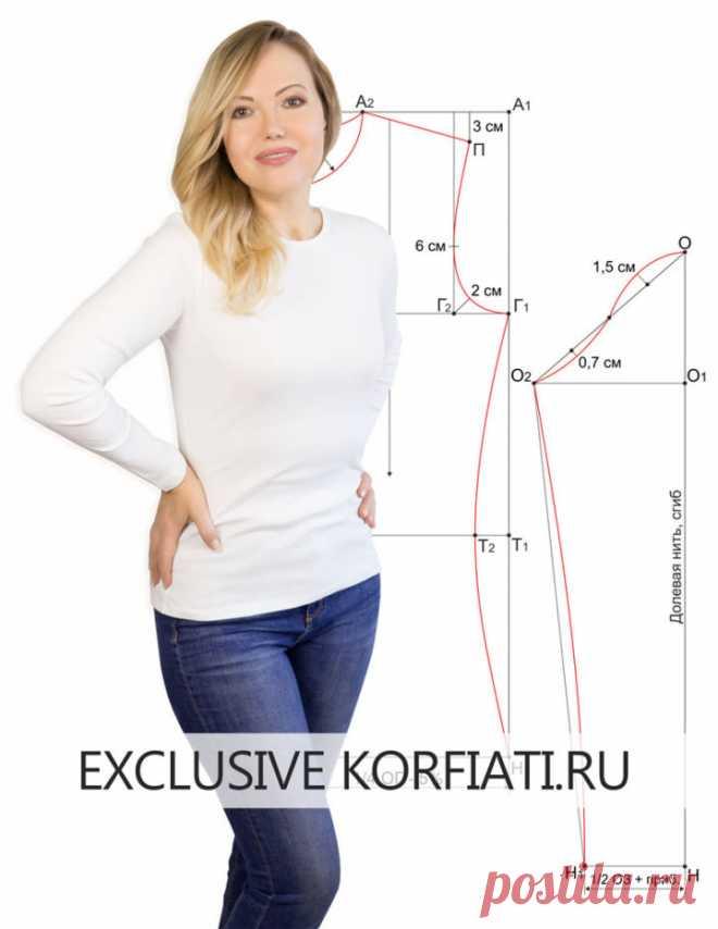Выкройка лонгслива - простой способ от Анастасии Корфиати