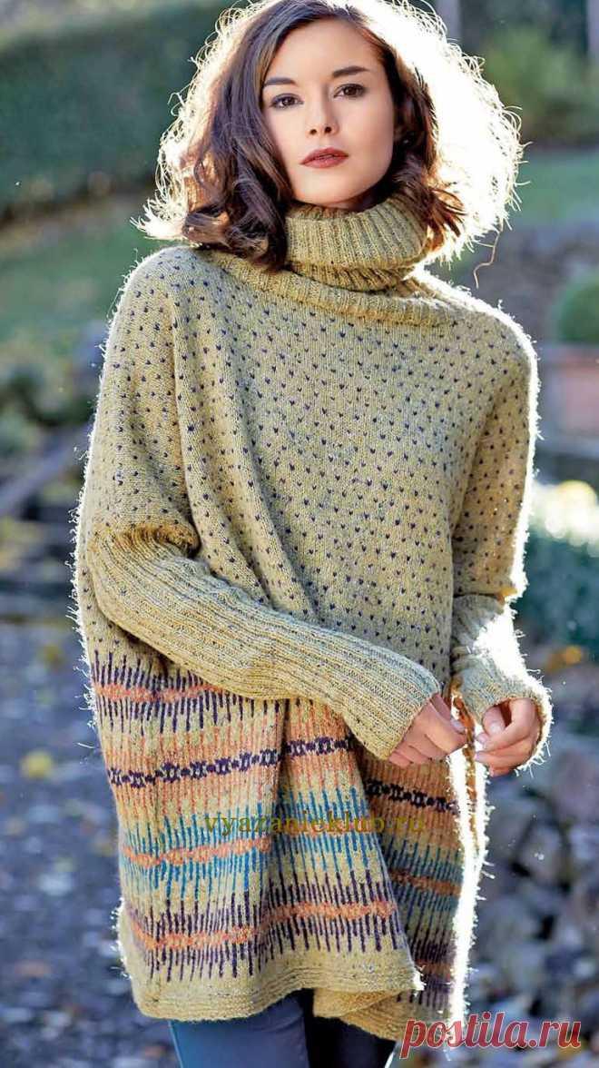 Вязание спицами для женщин свитер сверху